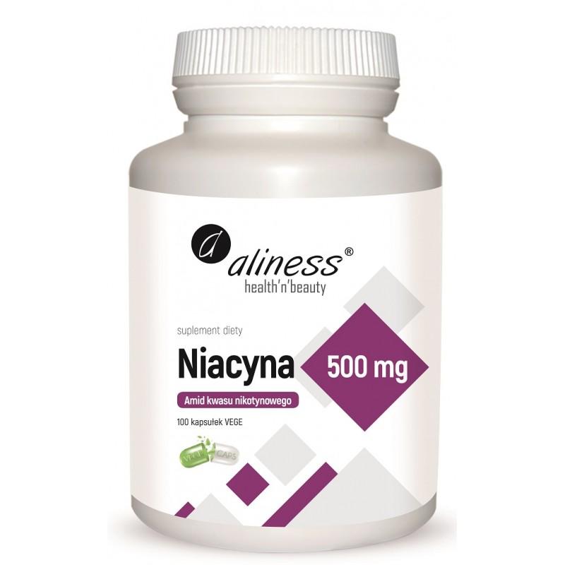 Niacyna 500mg 100 kaps Aliness Amid kwasu nikotynowego