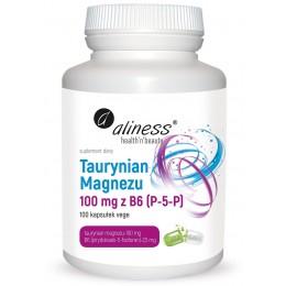 Taurynian Magnezu 100 mg z B6 (P-5-P) 100 vege kapsułek Aliness