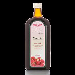 Naturalny sok z malin, tłoczony bezpośrednio z owoców (NFC - nie z koncentratu).