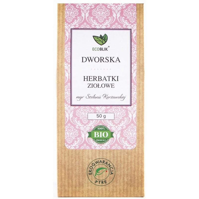 Herbata Dworska to niezwykłe połączenie przywrotnika, krwawnika, jasnoty białej z babką szerokolistną oraz słonecznym nagietkiem
