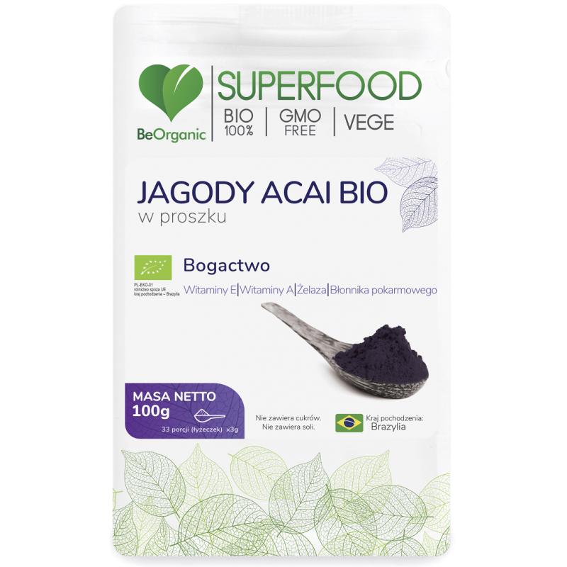 Jagody Acai są źródłem witaminy A, Witaminy E, żelaza, błonnika pokarmowego.