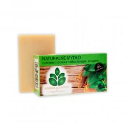 """Naturalne mydło z olejami z drzewa herbacianego i oregano 100 g """"Powrót do Natury"""" 100% roślinne Lebiodka drzewo herbaciane"""