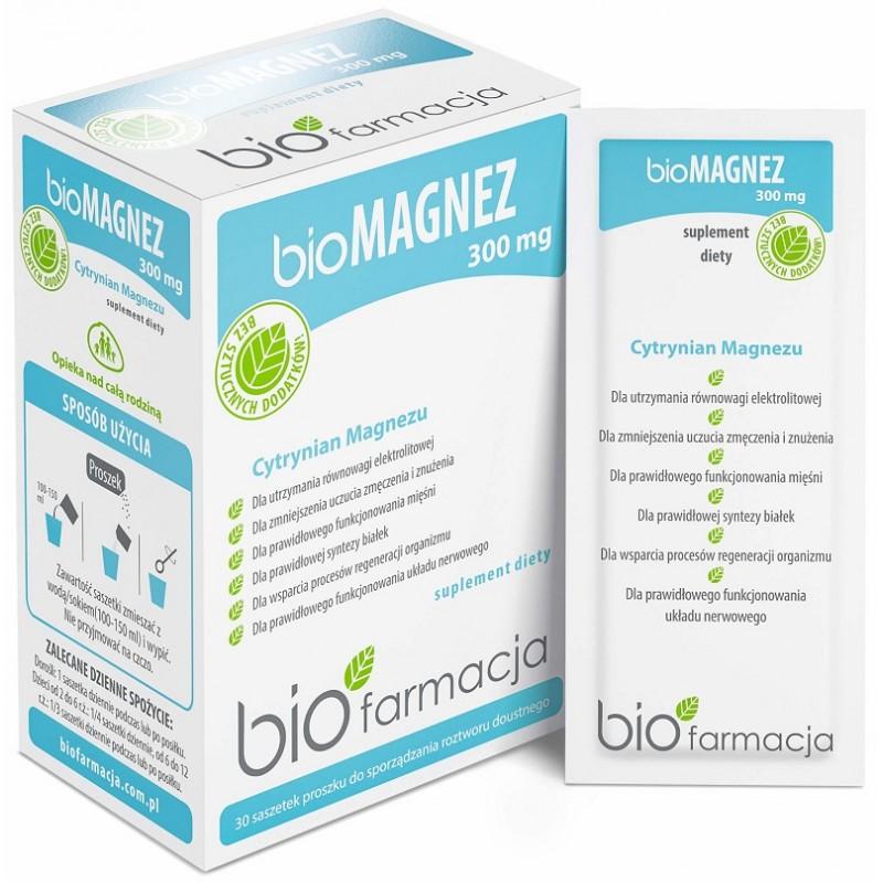 bio Magnez 300mg 30 saszetek bioFarmacja cytrynian magnezu z Morza Martwego