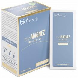 bio Magnez premium z B6 B12 oraz Cynkiem 20 saszetek bioFarmacja cytrynian magnezu z Morza martwego, cytrynian cynku