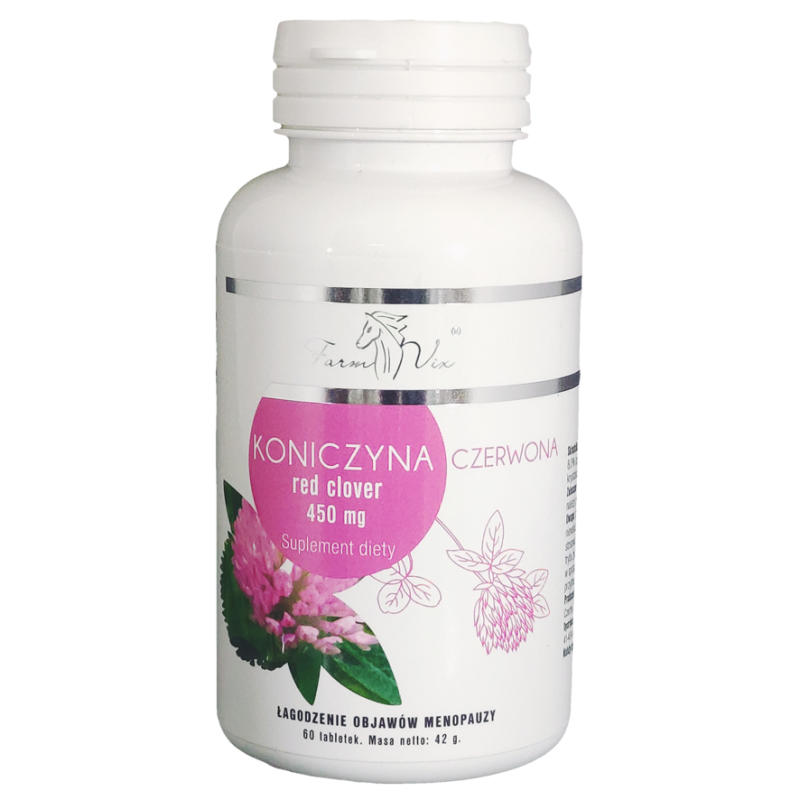 Koniczyna czerwona 450mg 60 tabletek Red Clover Łagodzenie objawów menopauzy