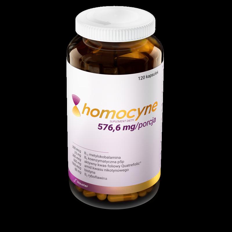 Homocyne 576,6mg 120 kaps. Hauster amid kwasu nikotynowego witamina B7 biotyna witamina B9 kwas foliowy