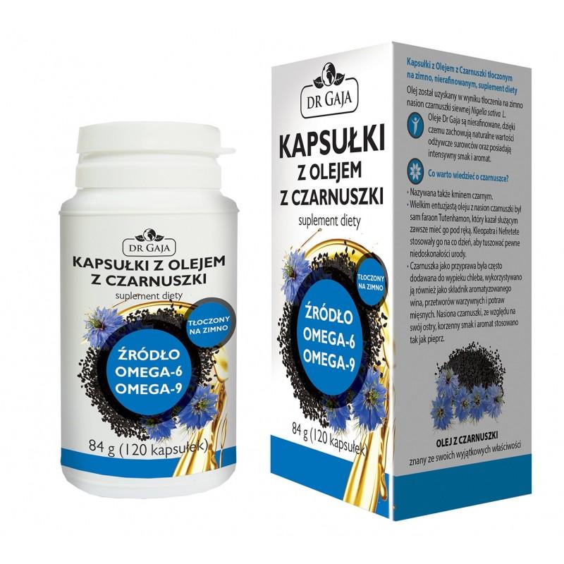 Kapsułki z Olejem z Czarnuszki Dr Gaja tłoczonym na zimno, nierafinowanym, suplement diety, 84g (120 kapsułek)