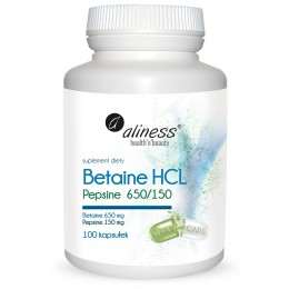 Betaine HCL 650mg Pepsyna 150 mg 100 kapsułek Betaina Aliness