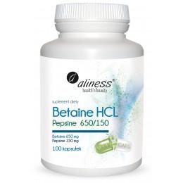 Betaine HCL 650mg Pepsyna 150 mg 100 kapsułek Betaina Aliness