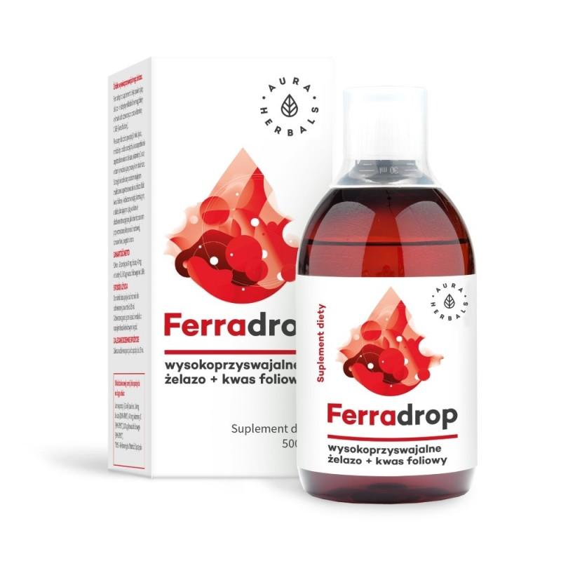 Ferradrop 500ml kwas L-askorbinowy (witamina C) diglicynian żelaza kwas pteroilomonoglutaminowy (kwas foliowy)