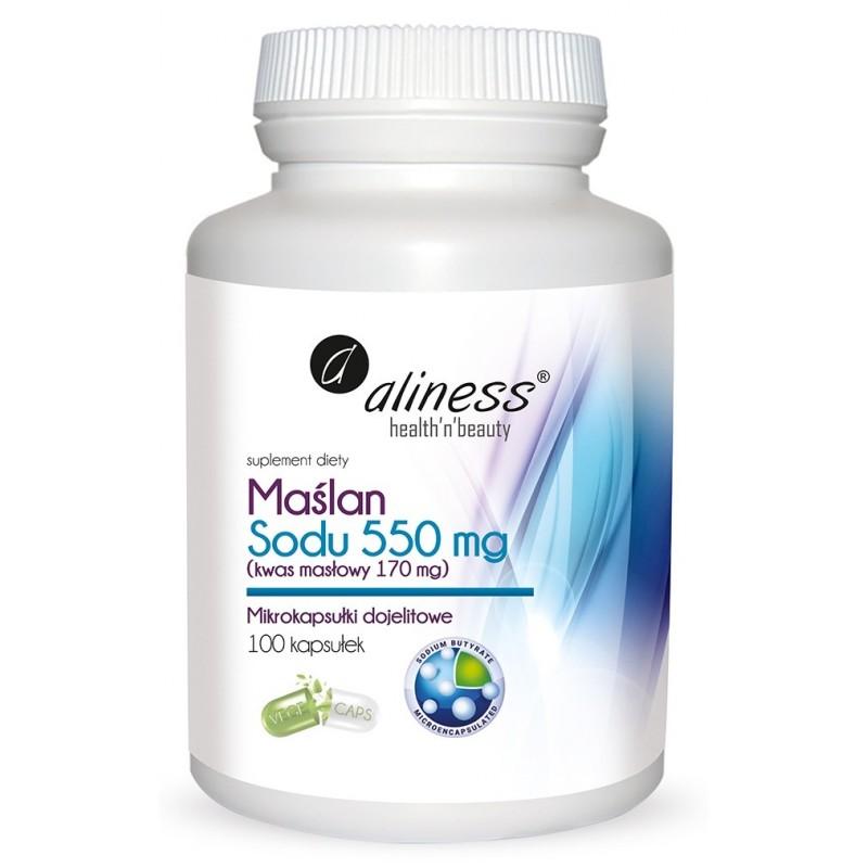 Maślan Sodu 550 mg (Kwas masłowy 170 mg) 100 VEGE kapsułek dojelitowych Aliness