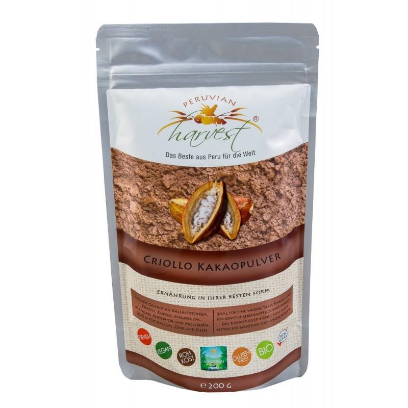 PH Kakao w proszku Criollo - 200g, EKO ekologiczne Kakao BIO Peru potas żelozo cynk magnez mangan miedź