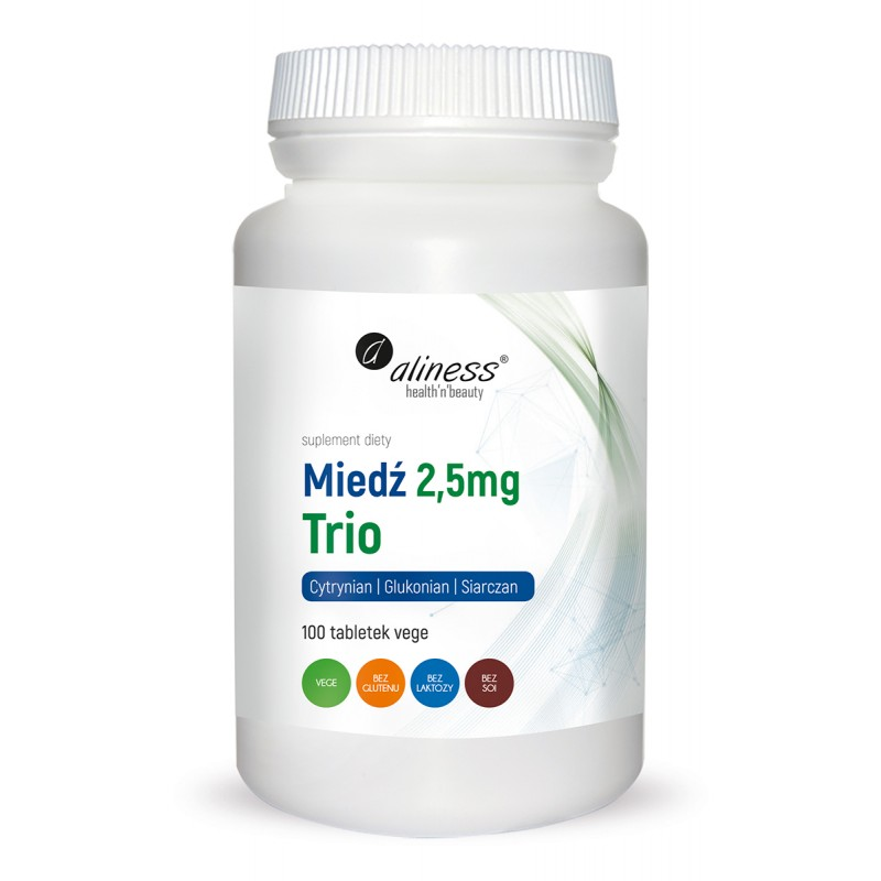 Miedź trio 2,5 mg  100 vege tabletek układ odpornościowy nerwowy prawidłowa pigmentacja włosów i skóry Aliness