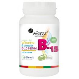Witamina B Complex B-15 Methyl 100 kapsułek Metylokobalamina metylowany kwas foliowy B12 B9 B6 B1 B2 cholina biotyna pantotenowy